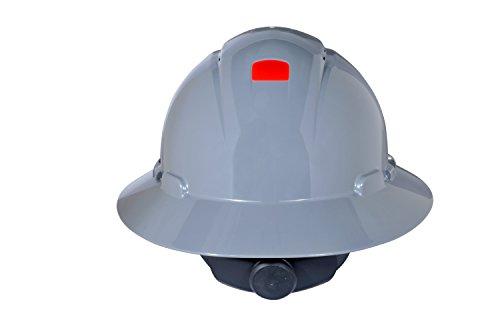 3M Full Brim Hard Hat H-808V-UV, Gray 4-Point Ratchet Suspension, Vented,w/ Uvicator