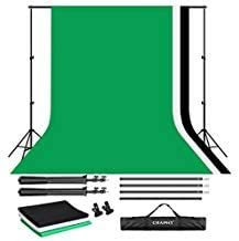 CRAPHY Upgraded Portable Photo Studio 10 x 6.5ft Background Stand Kit Backdrop Support System with Silk Cotton Background ...