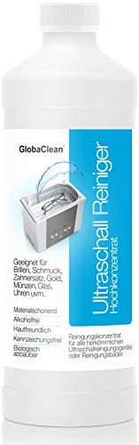 GlobaClean® Ultraschallreiniger für Ultraschallbad 1l Konzentrat für Brillen, Glas, Schmuck, Uhren (wasserdicht) uvm