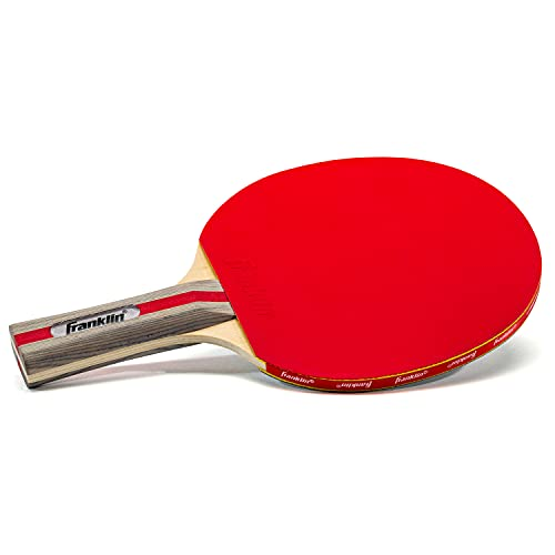 Franklin Sports Ping Pong Paddle - Performance Table Tennis Racket - Wooden Pro Style Paddle with Rubber Surface - Red + Gray