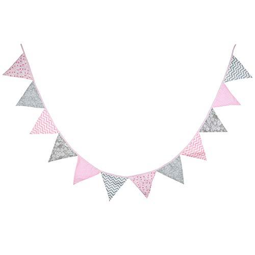 Oblique Unique® Bunte Wimpel Girlande Baumwolle Wimpelkette Doppelseitig Farbenfroh Drinnen & Draußen - Motiv wählbar (Rosa-Grau)