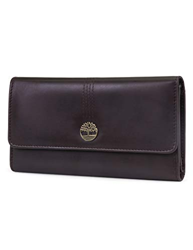Timberland Leather RFID Flap Wallet Clutch Organizer, Brown (Cloudy)