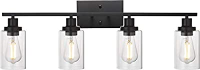 MELUCEE 4 Lights Sconces Wall Lighting Black with Clear Glass Shade, Industrial Bathroom Light Fixtures Vanity Lights Porch Light Fixtures Wall Mount