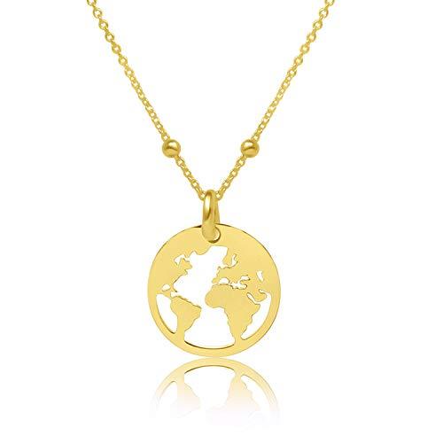 WANDA PLATA Collar Mundo para Mujer Chica Joven de Plata de Ley 925 Chapado Oro, Joyería Bola del Mundo, Colgante Mapamundi, Gargantilla Globo Terráqueo, World Tierra Continentes