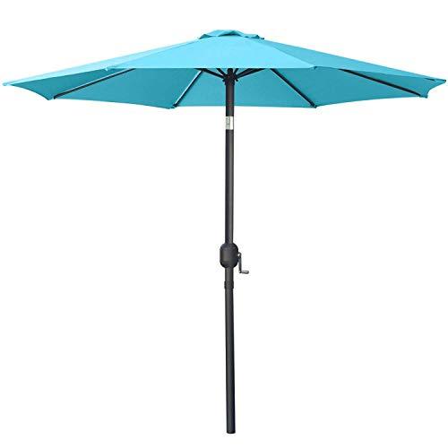 MasterCanopy Garden Patio Parasol Outdoor Fe-Al Market Table Parasol Umbrella with 8 Sturdy Ribs(2.7M,Turquoise)