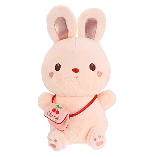 TOYANDONA Peluche de Conejito Muñeca de Dibujos Animados Mullido Conejo Sentado Cojín Almohada de Juguete Suave Animal Almohada Decoración de Fiesta de Pascua para Niños 40Cm Rosa