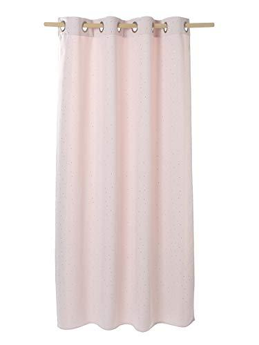Vertbaudet Vorhang, blickdicht, Sterne, Silber, Rosa, 135 x 180 cm
