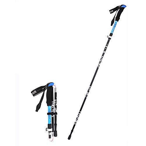 LEIAZ Trekking Pole avec Sac de Transport, Paire de Voyage Pôle de randonnée Poteau de Marche Alliage Pliant Stick d'escalade Ultralight Pliable, Anti-Choc avec Mousse EVA poignée,Blue,Long