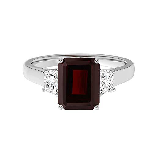 Shine Jewel 1,50 Ctw Corte Radiante Piedra Preciosa Granate Plata de Ley 925 Piedra única Anillo de Compromiso (19)