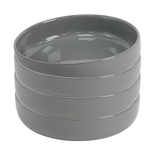 ProCook Stockholm - Vaisselle de Table en Grès - Assiette Creuse à Pâtes - Style Scandinave - 4 Pièces - 19cm - Gris Foncé
