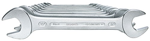 GEDORE 6-100 Doppelmaulschlüssel-Satz, Ausführung nach DIN 3110, hochwertige Industriequalität, Köpfe feingeschliffen, Blendfrei-Optik durch mattes Verchromen, 10-teilig, 6-32 mm