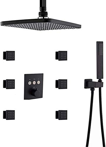 Lopus douchesysteem, thermostaat plafond douchearmatuur systeem rechthoekig 12 x 8 inch rechthoekige regendouchekop met 6 stuks Body Jets Mixerset, douche set geborsteld goud zwart