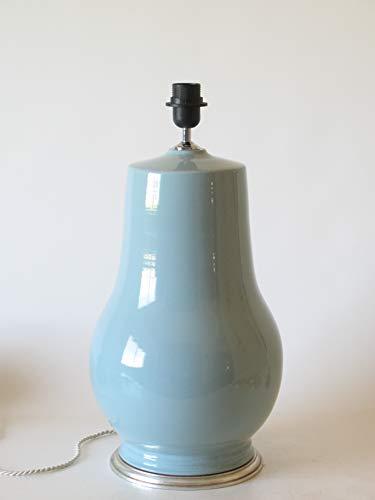 POLONIO Lampara de Ceramica Sobremesa Grande de Salon Verde 44 cm E27, 60 W Pie de Lámpara de Cerámica Verde Celadón