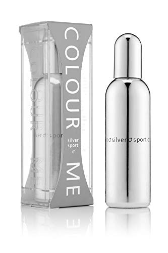 Colour Me | Silver Sport | Eau de Toilette | Fragrance Spray for Men | Woody Aromatic Scent | 3 oz