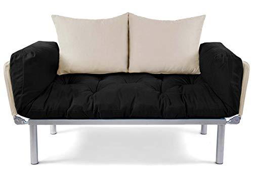EasySitz Schlafsofa Schlafsofa Für EIN Zum Einer Sofa in Unter Schlafsessel '' Er Mein Futon 2 Sitzer Kissen Futonsofa 140 x 210 Schlaffunktion (Schwarz & Creme)