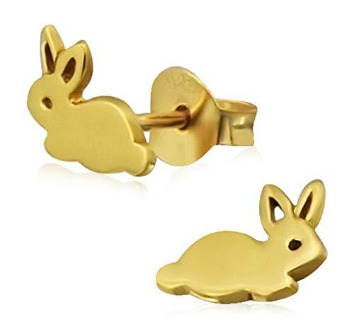 Laimons Kids Orecchini a pressione per bambini gioielli per bambini Coniglio finitura lucida in oro Argento Sterling 925