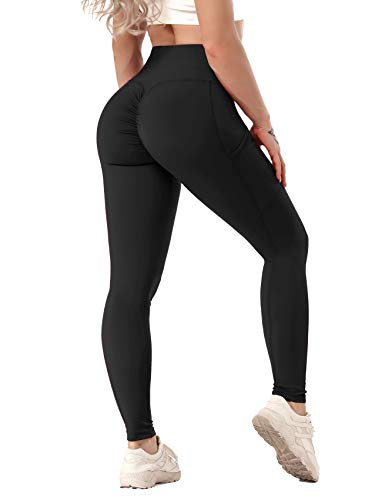 SEASUM Women Scrunch Butt Leggings High Waisted Ruched Yoga Pants Workout Butt Lifting M