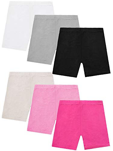 Resinta 6 Pack Dance Shorts Girls Bike Short Breathable and Safety 6 Color (8-10 Years) Pink