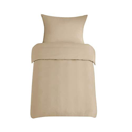 Casalinga Home Ropa de cama 155 x 220 cm, caqui, funda nórdica supersuave con cremallera y funda de almohada de 80 x 80 cm, 2 piezas (aprox. 105 g/m²)