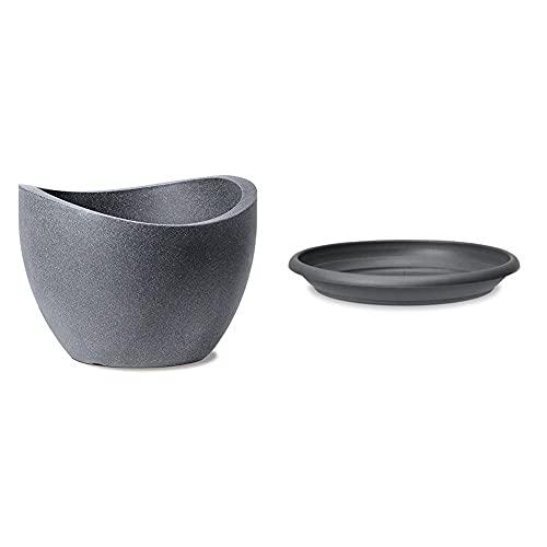 Scheurich Wave Globe, Pflanzgefäß aus Kunststoff, Schwarz-Granit, 60 cm Durchmesser, 44,5 cm hoch, 68 l Vol. & Untersetzer aus Kunststoff, Metallic Grey, 44 cm Durchmesser, 6,5 cm hoch