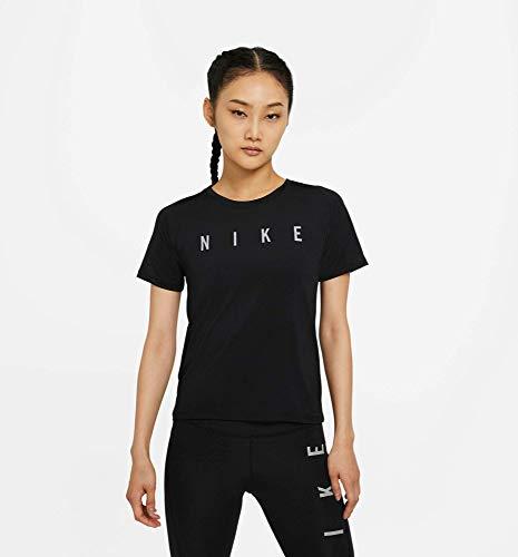 NIKE Camiseta para Mujer Run Dvn Miler, Mujer, Camiseta, DC5236, Negro y Plateado, Extra-Large