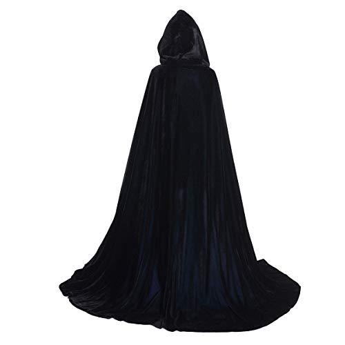 Huntforgold Umhang mit Kapuze Lange Samt Cape für Halloween Karneval Fasching Vampir Kostüm(60-170cm) (Erwachsene XXL(Länge 185cm), Schwarz)