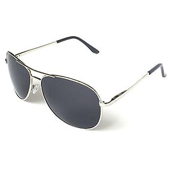 J+S Premium Military Style Classic Aviator Sunglasses Polarized 100% UV Protection  Large Frame - Silver Frame/Black Lens