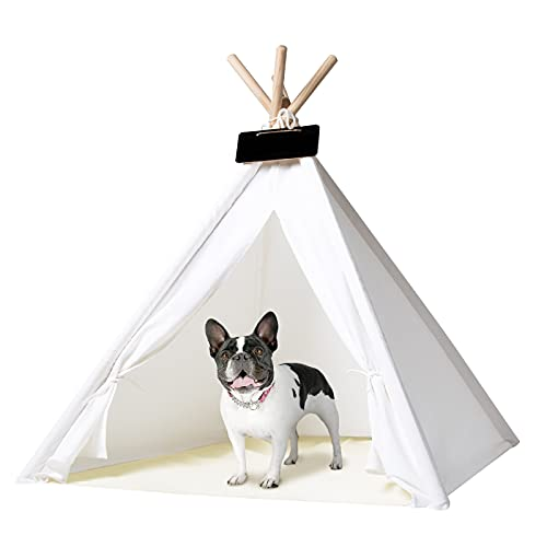 IREENUO Pet Teepee Tent for Dogs Cats, 33inches Larger Space Dogs Tent House for Small Medium Dogs with Durable Material for Camping