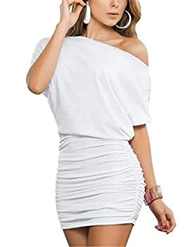 Anxihanee Women s Sexy Off Shoulder Party Club Ruched Bodycon Mini Dress  S White