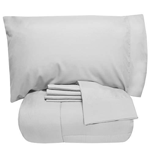 Sweet Home Collection 5-teiliges Bettdecken-Set mit Tasche, einfarbig, weiche Daunen-Alternative Decke & luxuriöse Mikrofaser-Bettlaken, Doppelbett, silberfarben