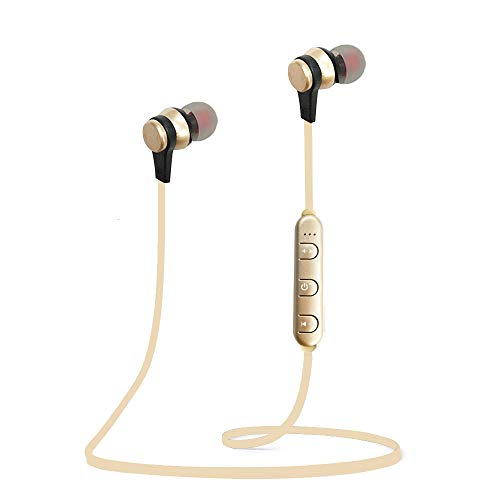 Woostar Bluetooth Headphones, Bluetooth 5.0 Wireless Magnetic Earbuds Sweatproof Earphones Stereo Headphones for Running Workout Gym Noise Cancelling (Gold)