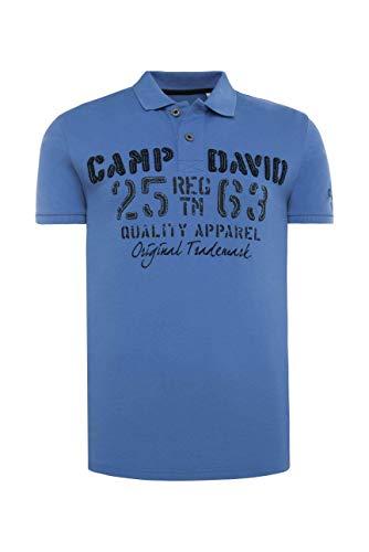 Camp David Herren Poloshirt aus Piquee mit Logo-Applikationen, Sky Blue, L