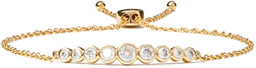 Kate Spade Full Circle Bezel Set Crystal Bolo Slider Bracelet, Goldtone…