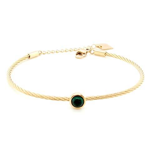 Armband jonc Zag Acier doré vert - Goud Groen - Malachiet