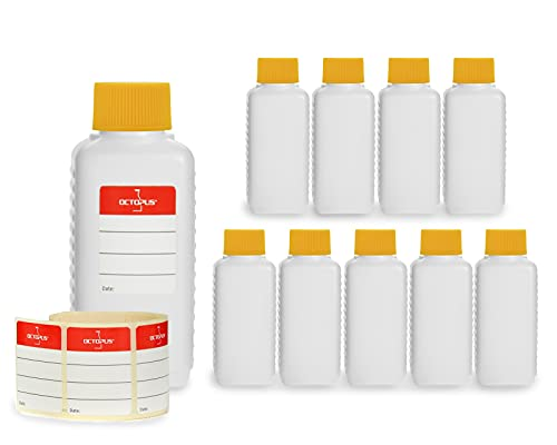 10 x 100 ml bottiglie in plastica Octopus, bottiglie in plastica HDPE con tappi a vite in giallo, bottiglie vuote con coperchi a vite in giallo, bottiglie quadre con 10 etichette compilabili incluse