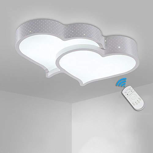 LED creativo Lámpara de techo cálido estudio romántico dormitorio matrimonio habitación Los niños LED Luz dos corazones de hierro Regulación LuzdeTecho Plafones Sala de estar Iluminacióndetecho