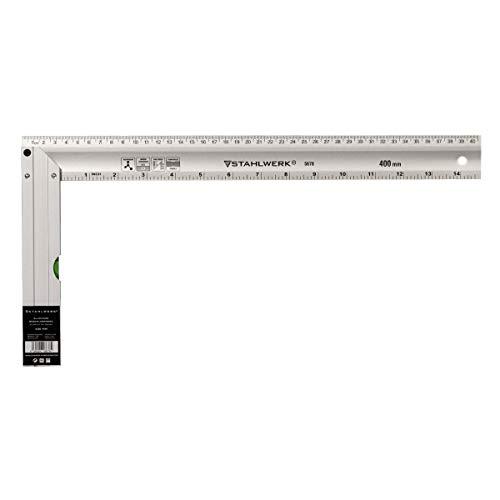 STAHLWERK Aluminium Anschlagwinkel Messwinkel Zimmermannswinkel 400 mm Winkel mit cm und Zoll integrierte Wasserwaage im Griff genietet