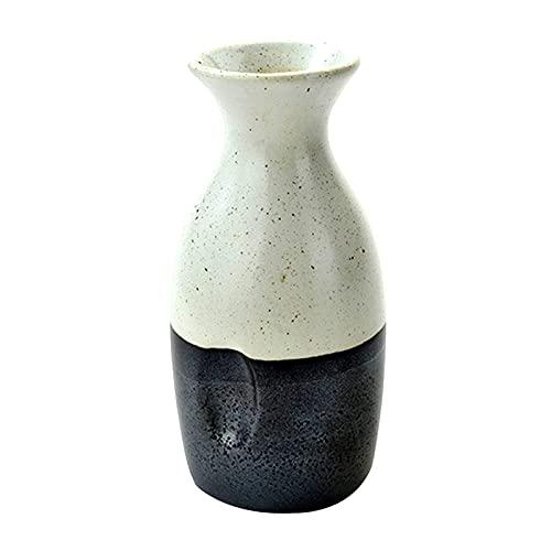 Taza de Sake Japonés, Vintage Tinta de cerámica Blanco Serie Blanca Sake Cup Weeware, 300 ml Estilo japonés Set Creativo Hip Flask Wineware Vino Bandeja de Vino Copa de Vino