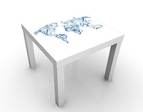 Apalis Design Tisch Meereswelt 55x55x45cm Beistelltisch Couchtisch Motiv-Tisch, Tischfarbe:Weiss;Größe:55 x 55 x 45cm