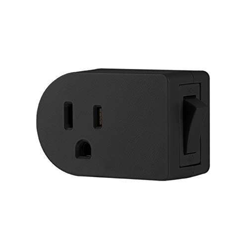 UltraPro Grounded On/Off Outlet Power Switch, 3 Prong, Easy to Install, for Indoor Lights and Small Appliances, Energy Efficient, Space Saving Design, UL Listed, Black, 57316