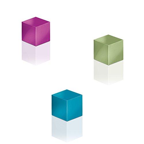 SIGEL GL727 SuperDym-Magnete Cube-Design, eloxiertes Aluminium, 3 Stück, 11x11x11 mm, für Glas-Magnettafeln - weitere Designs