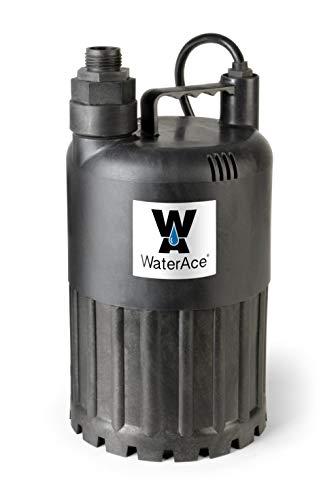 WaterAce WA80UP Submersible Utility Pump, 1/2 HP, Black