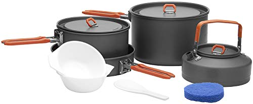 Fire-Maple Camping Cookware Set with Pot, Kettle, Pan for 4 People Feast4, Easy to Clean Hard Anodized Aluminum, 8 Piece Pot and Mess Kit, Essential Pots and Pans Set, Camping Gear and Accessories