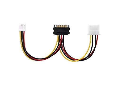adaptare 34109 Netzteil-Adapter-Kabel 15-polig SATA-Anschluss auf 4-polig IDE und 4-polig Floppy FDD schwarz