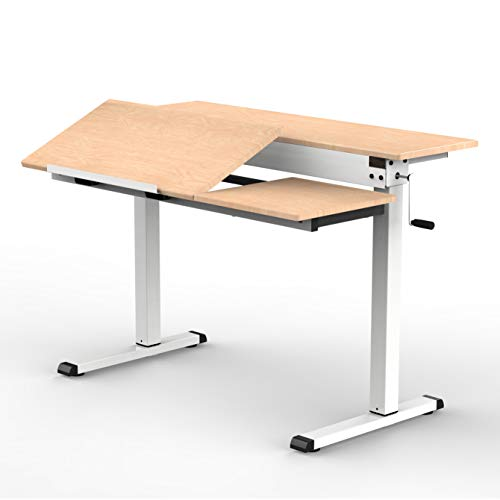 Stand Up Desk Store 48' Crank Adjustable Height Split Level Drafting Table Ergonomic Desk with Monitor Shelf (White/Birch)