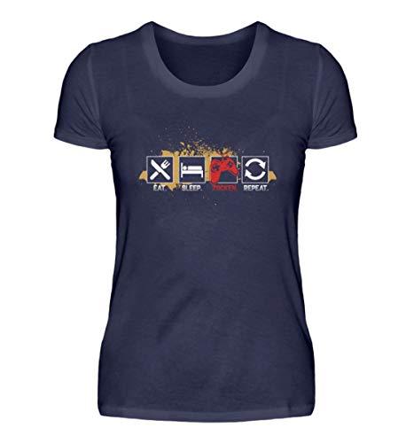 "Camiseta de manga corta para mujer con texto en inglés ""Eat Sleep Zocks"" Azul (Oxford Blue). L"