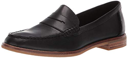 Sperry Womens Seaport Penny Nubuck Loafer, Black, 7