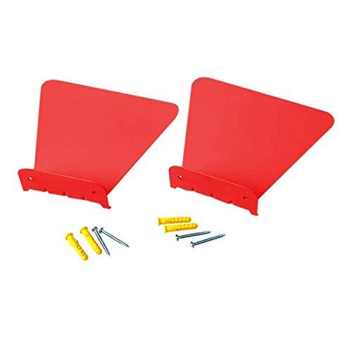 FNMYH Organización de papelería Muro de Metal Inoxidable Invisible Libro Estante Decoración del hogar Decoración de estantería Flotante (2 PCS) (Color : Red)