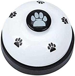 Metal Desk Call Bell Dog Training Bells with Footprints Pattern for Kitchen Counter Reception (White)