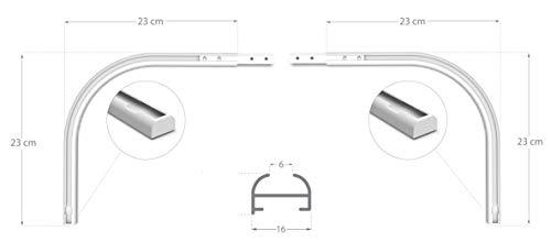 Rollmayer Aluminium Gardinenschiene Mini im Weiß mit Deckenbefestigung (Rundbogen Paar) glänzend 1-läufig Vorhangschiene Innenlaufschiene für Schiebevorhänge, Gardinen und Vorhänge